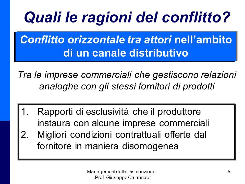 Management della Distribuzione - Prof.Giuseppe Calabrese 5 Quali le ragioni del conflitto.