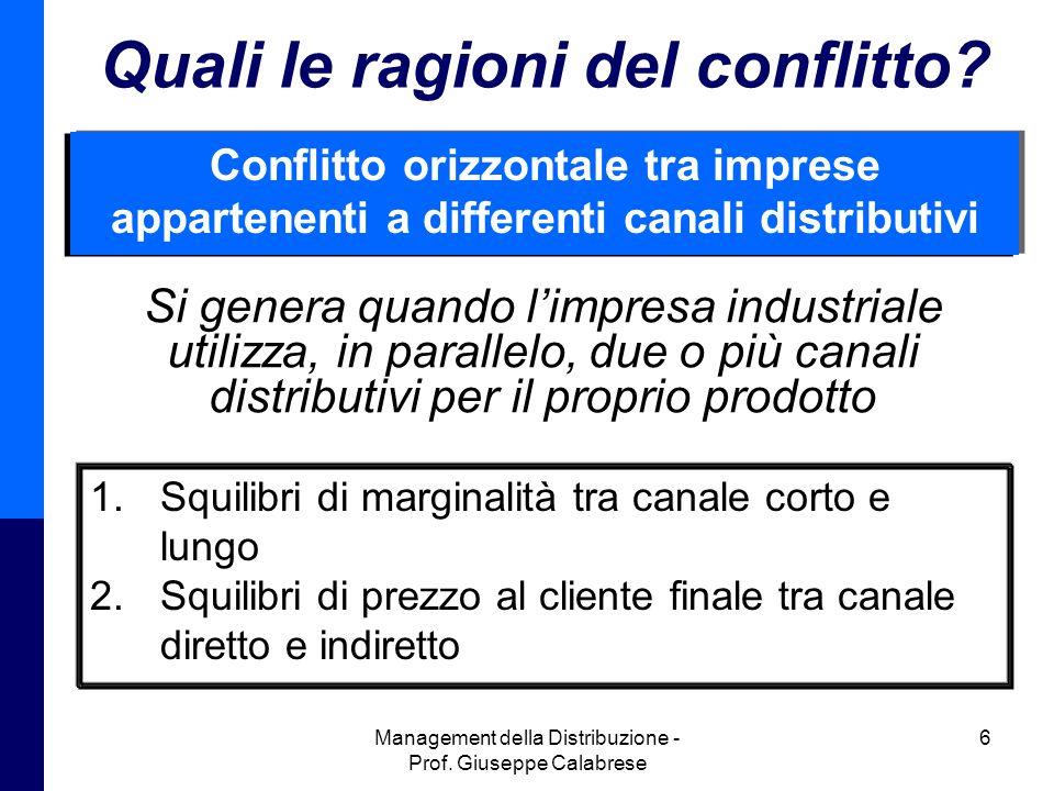 Management della Distribuzione - Prof.Giuseppe Calabrese 6 Quali le ragioni del conflitto.