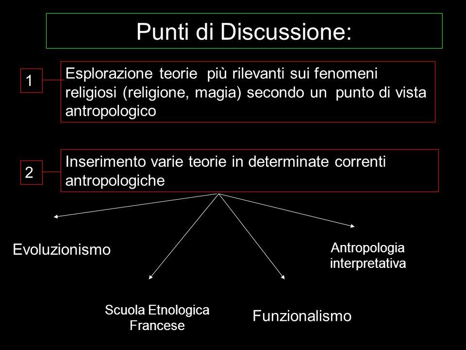 Punti di Discussione: Evoluzionismo Scuola Etnologica Francese Funzionalismo Antropologia interpretativa 1 Inserimento varie teorie in determinate cor