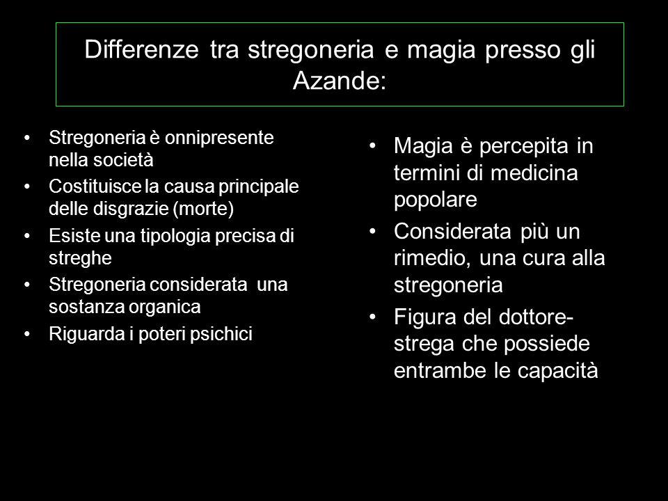 Differenze tra stregoneria e magia presso gli Azande: Stregoneria è onnipresente nella società Costituisce la causa principale delle disgrazie (morte)