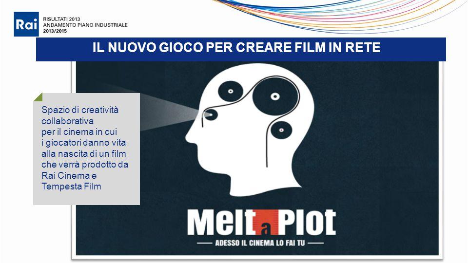 IL NUOVO GIOCO PER CREARE FILM IN RETE Spazio di creatività collaborativa per il cinema in cui i giocatori danno vita alla nascita di un film che verrà prodotto da Rai Cinema e Tempesta Film