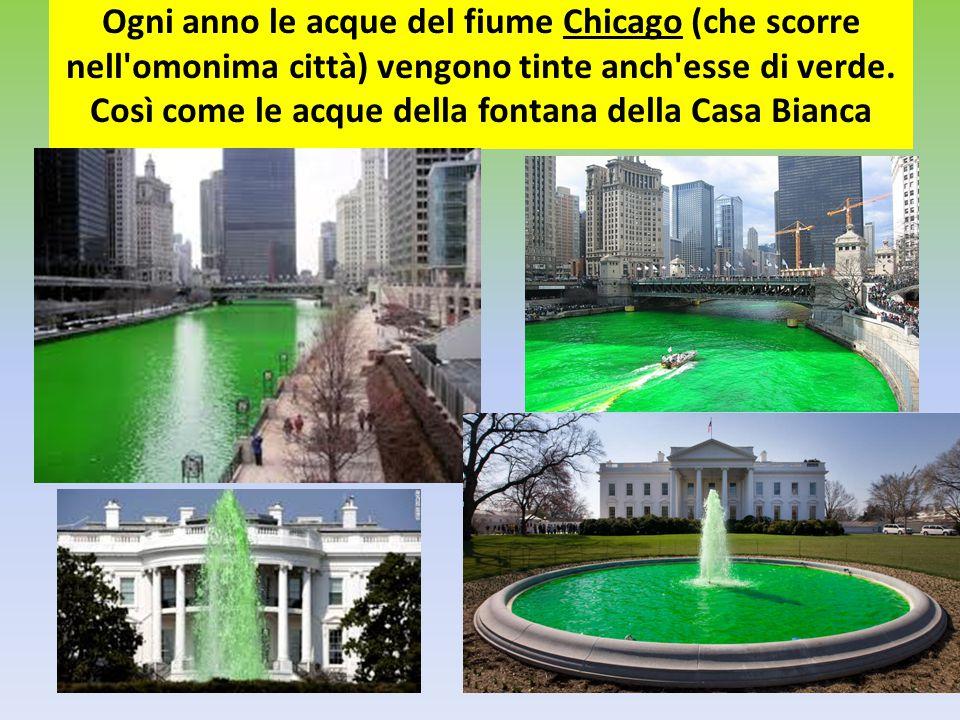 Ogni anno le acque del fiume Chicago (che scorre nell'omonima città) vengono tinte anch'esse di verde. Così come le acque della fontana della Casa Bia