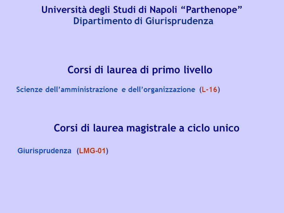"""Università degli Studi di Napoli """"Parthenope"""" Dipartimento di Giurisprudenza Corsi di laurea di primo livello Scienze dell'amministrazione e dell'orga"""