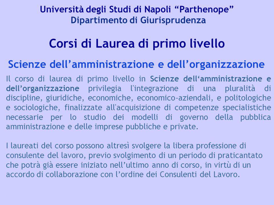 """Università degli Studi di Napoli """"Parthenope"""" Dipartimento di Giurisprudenza Corsi di Laurea di primo livello Il corso di laurea di primo livello in S"""