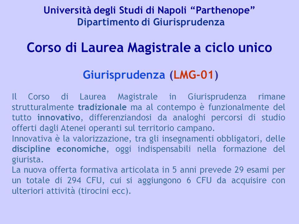 """Università degli Studi di Napoli """"Parthenope"""" Dipartimento di Giurisprudenza Giurisprudenza (LMG-01) Corso di Laurea Magistrale a ciclo unico Il Corso"""