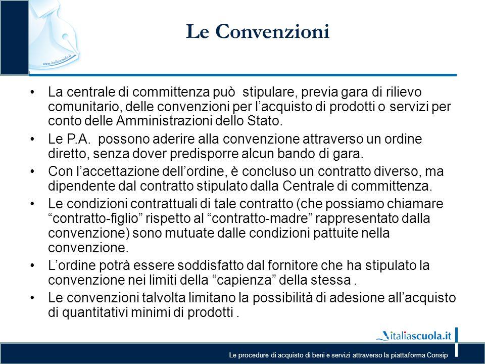 Le procedure di acquisto di beni e servizi attraverso la piattaforma Consip Le Convenzioni La centrale di committenza può stipulare, previa gara di ri