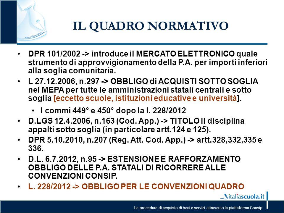 Le procedure di acquisto di beni e servizi attraverso la piattaforma Consip IL QUADRO NORMATIVO DPR 101/2002 -> introduce il MERCATO ELETTRONICO quale
