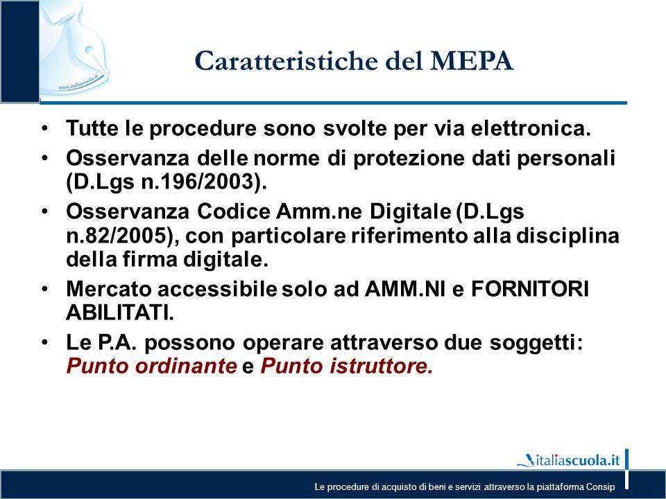 Le procedure di acquisto di beni e servizi attraverso la piattaforma Consip Caratteristiche del MEPA Tutte le procedure sono svolte per via elettronic