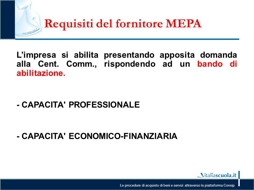 Le procedure di acquisto di beni e servizi attraverso la piattaforma Consip Requisiti del fornitore MEPA L L'impresa si abilita presentando apposita d