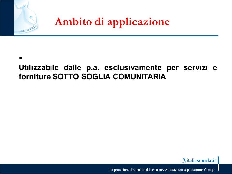 Le procedure di acquisto di beni e servizi attraverso la piattaforma Consip Ambito di applicazione  U Utilizzabile dalle p.a. esclusivamente per serv