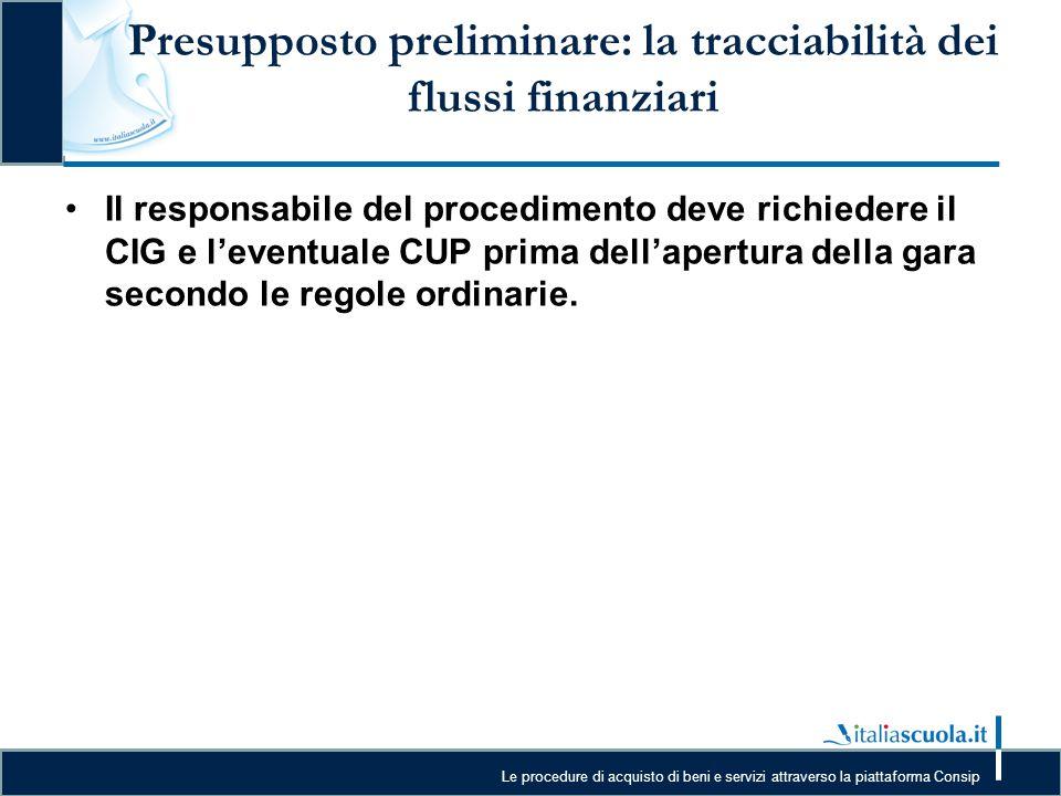Le procedure di acquisto di beni e servizi attraverso la piattaforma Consip Presupposto preliminare: la tracciabilità dei flussi finanziari Il respons