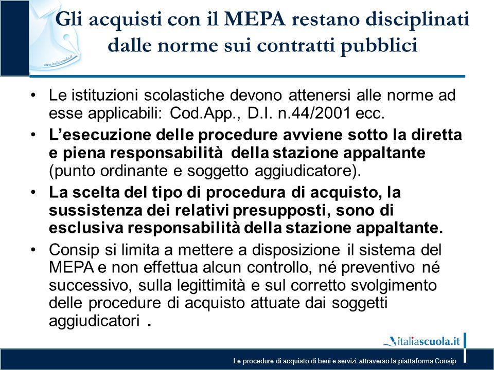 Le procedure di acquisto di beni e servizi attraverso la piattaforma Consip Gli acquisti con il MEPA restano disciplinati dalle norme sui contratti pu