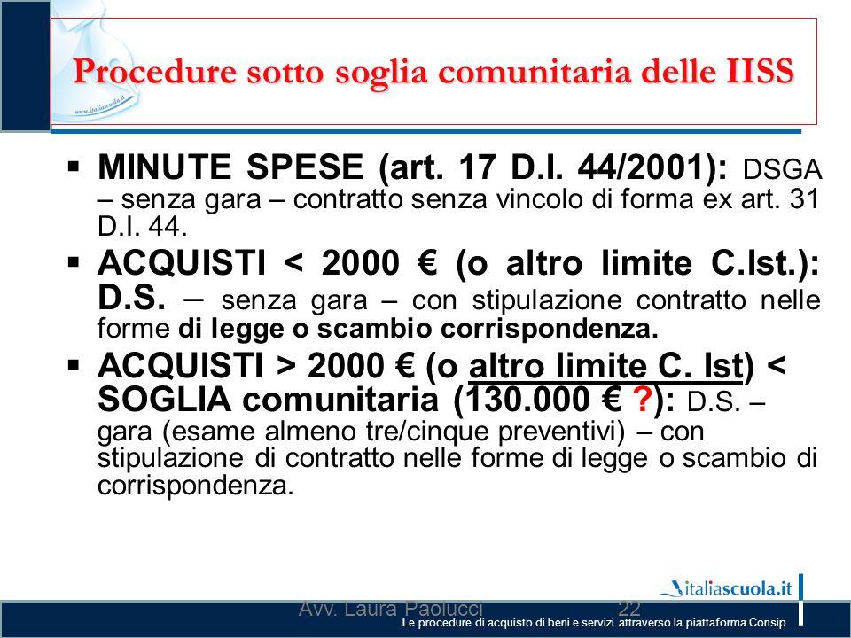 Le procedure di acquisto di beni e servizi attraverso la piattaforma Consip Procedure sotto soglia comunitaria delle IISS  MINUTE SPESE (art. 17 D.I.