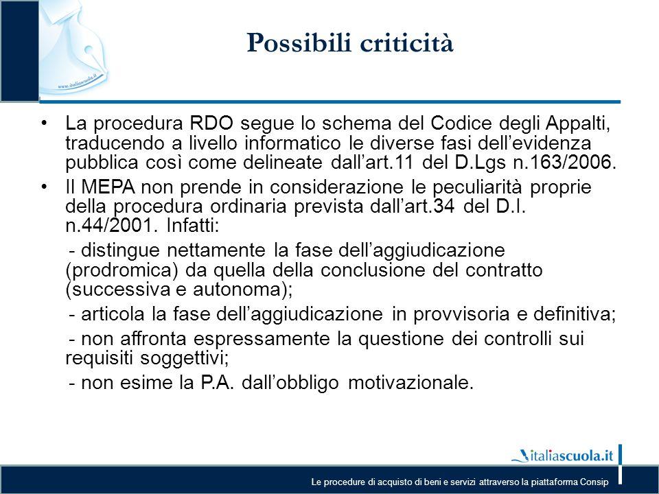 Le procedure di acquisto di beni e servizi attraverso la piattaforma Consip Possibili criticità La procedura RDO segue lo schema del Codice degli Appa