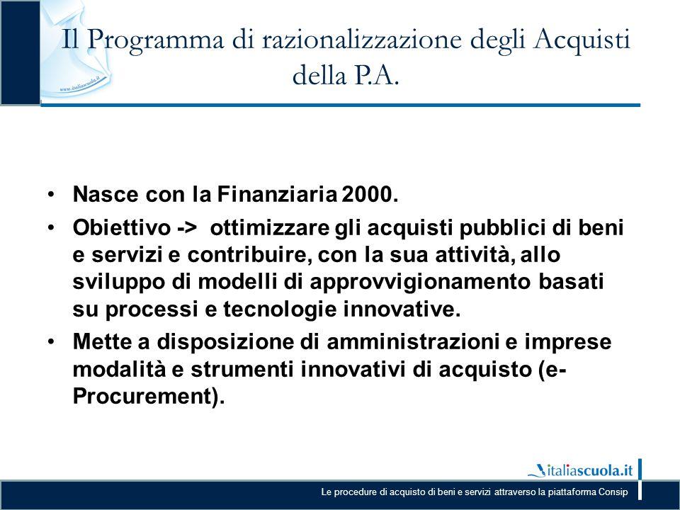 Le procedure di acquisto di beni e servizi attraverso la piattaforma Consip Il Programma di razionalizzazione degli Acquisti della P.A. Nasce con la F