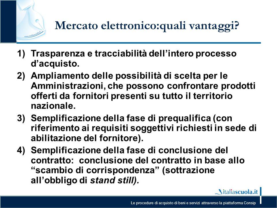 Le procedure di acquisto di beni e servizi attraverso la piattaforma Consip Mercato elettronico:quali vantaggi? 1)Trasparenza e tracciabilità dell'int