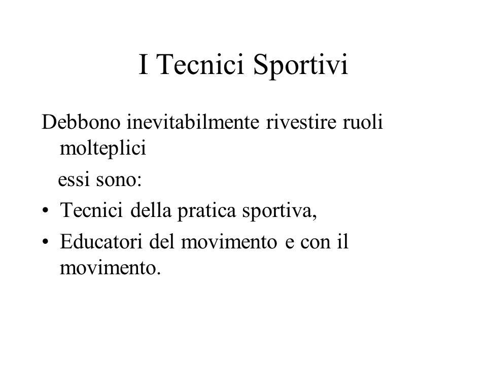 I Tecnici Sportivi Debbono inevitabilmente rivestire ruoli molteplici essi sono: Tecnici della pratica sportiva, Educatori del movimento e con il movimento.