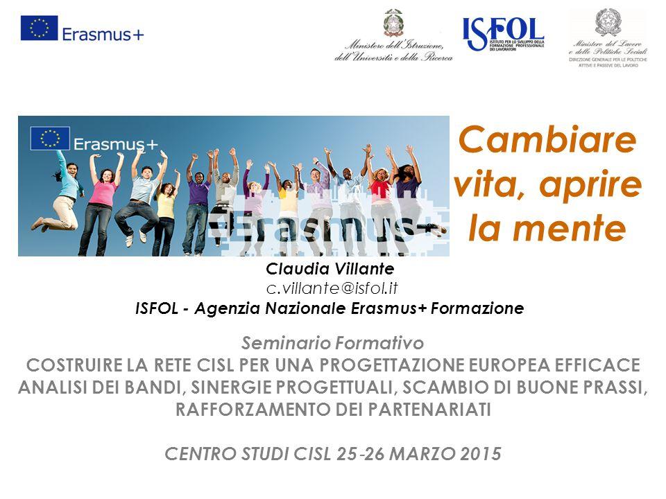 Cambiare vita, aprire la mente Claudia Villante c.villante@isfol.it ISFOL - Agenzia Nazionale Erasmus+ Formazione Seminario Formativo COSTRUIRE LA RET