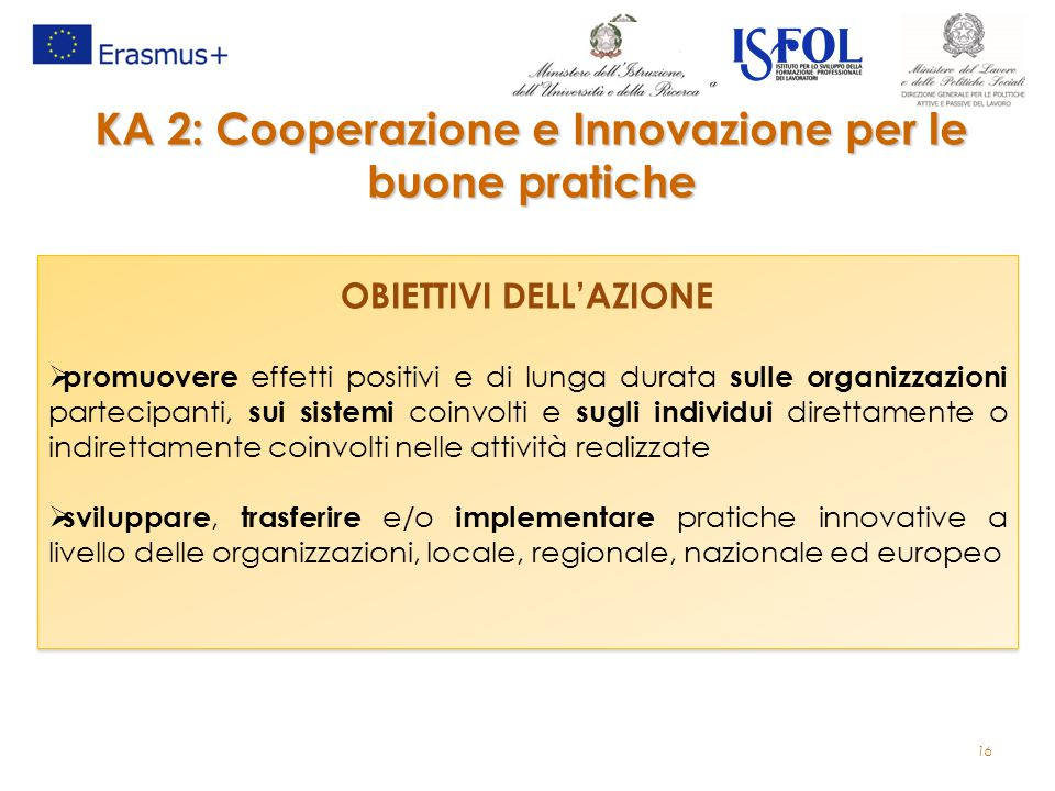 16 KA 2: Cooperazione e Innovazione per le buone pratiche OBIETTIVI DELL'AZIONE  promuovere effetti positivi e di lunga durata sulle organizzazioni p