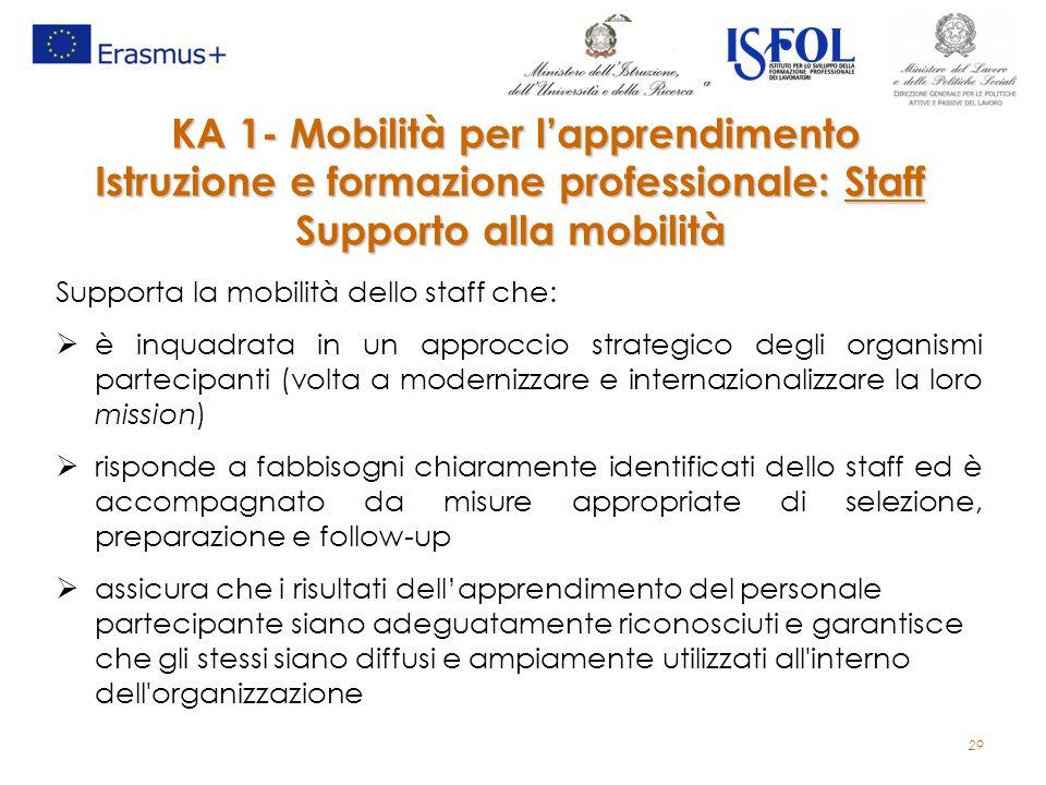 29 Supporta la mobilità dello staff che:  è inquadrata in un approccio strategico degli organismi partecipanti (volta a modernizzare e internazionali