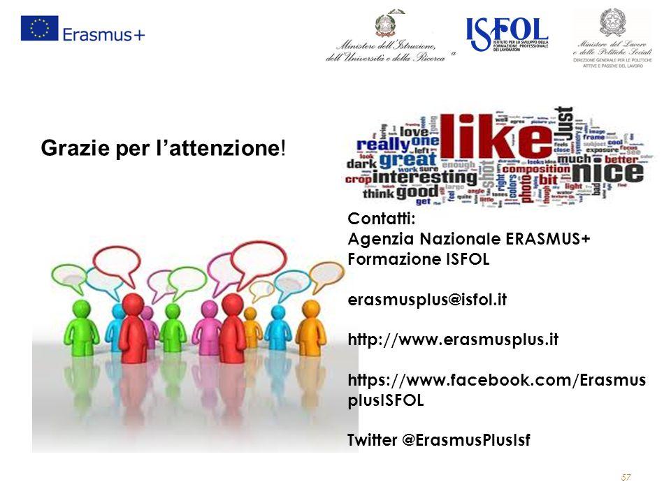 57 Grazie per l'attenzione! Contatti: Agenzia Nazionale ERASMUS+ Formazione ISFOL erasmusplus@isfol.it http://www.erasmusplus.it https://www.facebook.