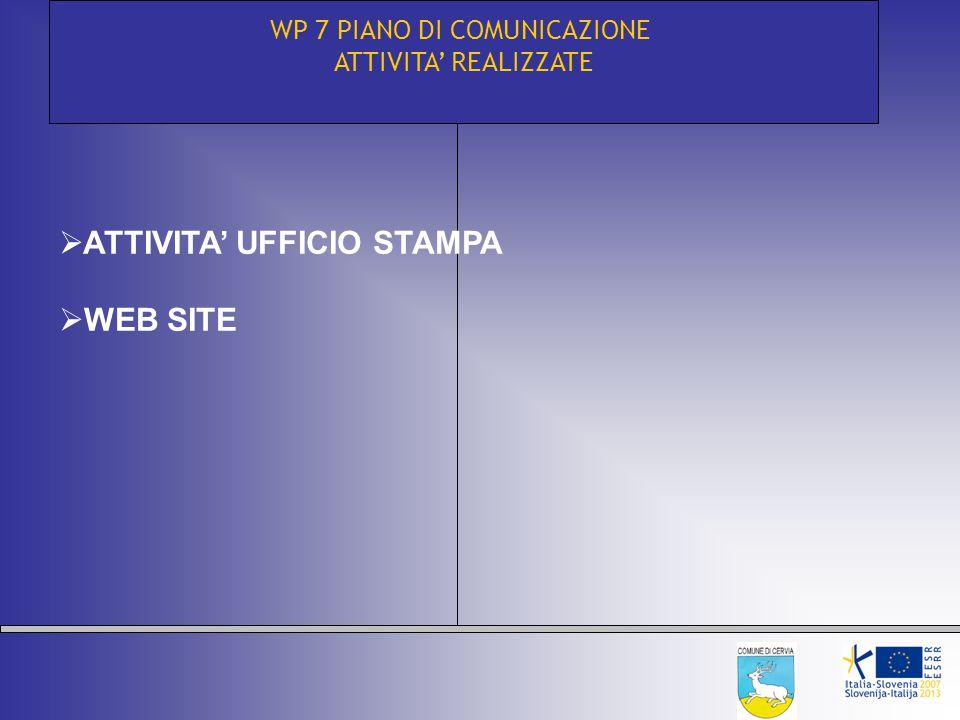 WP 7 PIANO DI COMUNICAZIONE ATTIVITA' REALIZZATE  ATTIVITA' UFFICIO STAMPA  WEB SITE
