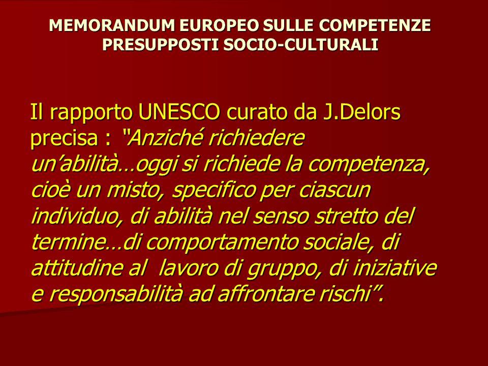 """MEMORANDUM EUROPEO SULLE COMPETENZE PRESUPPOSTI SOCIO-CULTURALI Il rapporto UNESCO curato da J.Delors precisa : """"Anziché richiedere un'abilità…oggi si"""
