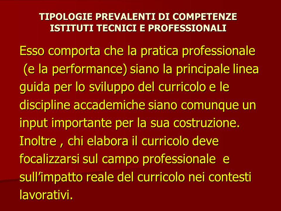 TIPOLOGIE PREVALENTI DI COMPETENZE ISTITUTI TECNICI E PROFESSIONALI Esso comporta che la pratica professionale (e la performance) siano la principale