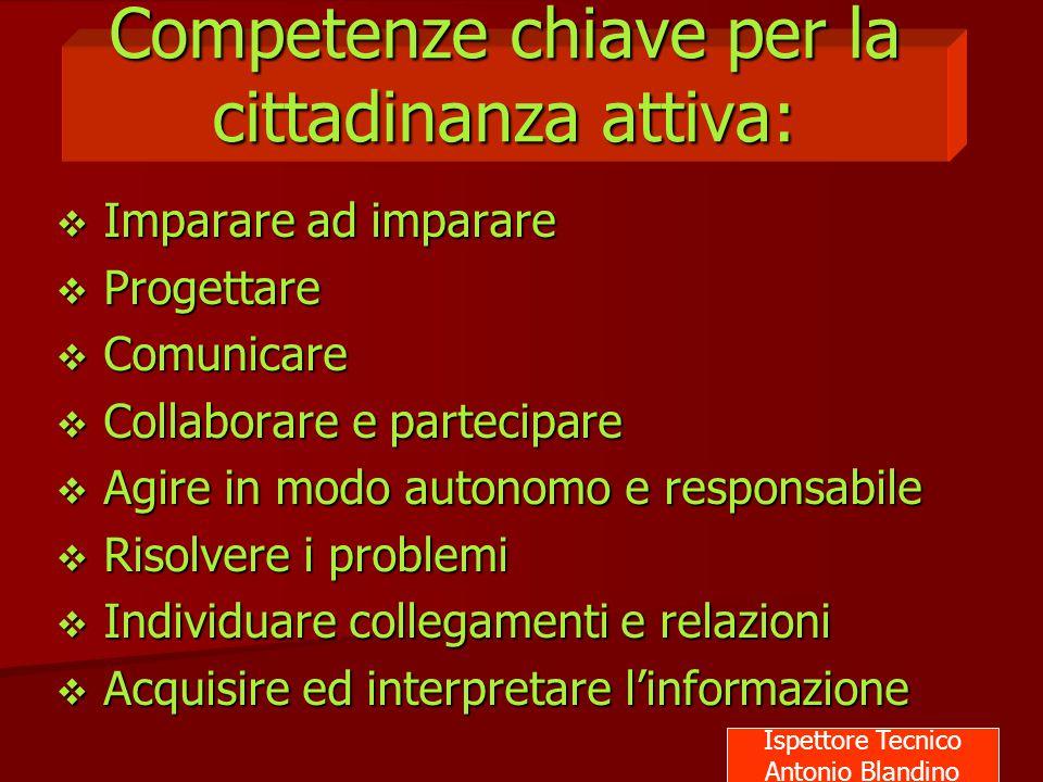 Competenze chiave per la cittadinanza attiva:  Imparare ad imparare  Progettare  Comunicare  Collaborare e partecipare  Agire in modo autonomo e