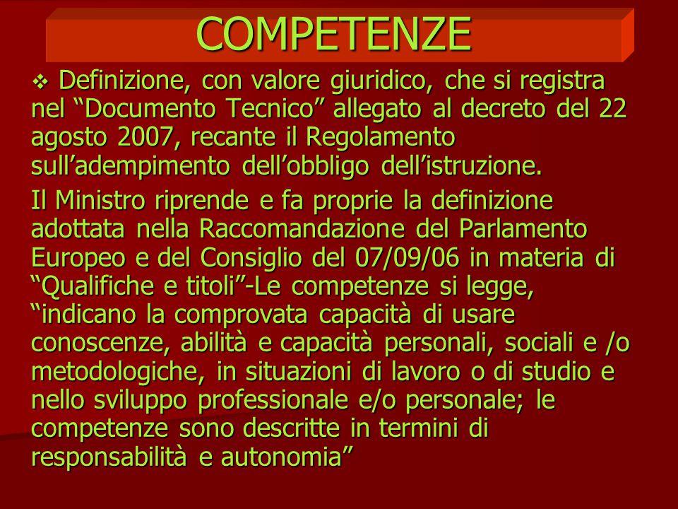 """COMPETENZE  Definizione, con valore giuridico, che si registra nel """"Documento Tecnico"""" allegato al decreto del 22 agosto 2007, recante il Regolamento"""