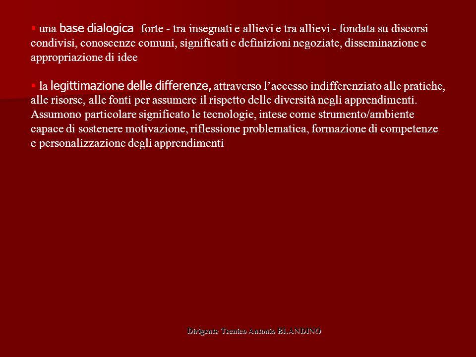  una base dialogica forte - tra insegnati e allievi e tra allievi - fondata su discorsi condivisi, conoscenze comuni, significati e definizioni negoz