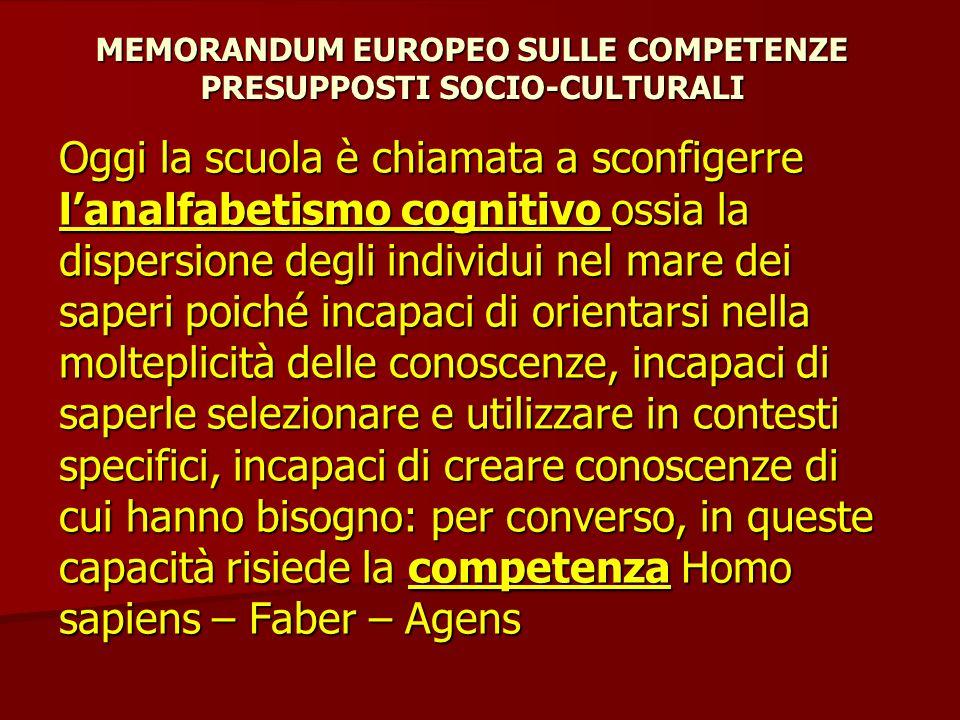 MEMORANDUM EUROPEO SULLE COMPETENZE PRESUPPOSTI SOCIO-CULTURALI Saper agire nel e sul mondo è un indubbio obiettivo educativo e non esclusiva prerogativa del mondo del lavoro.
