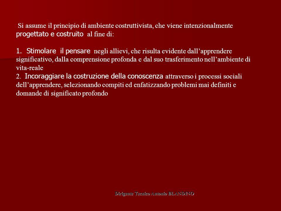 Si assume il principio di ambiente costruttivista, che viene intenzionalmente progettato e costruito al fine di: 1. Stimolare il pensare negli allievi