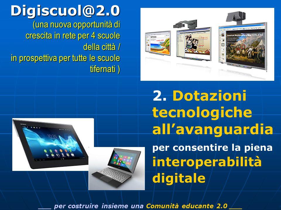 2. Dotazioni tecnologiche all'avanguardia per consentire la piena interoperabilità digitale ___ per costruire insieme una Comunità educante 2.0 ___Dig