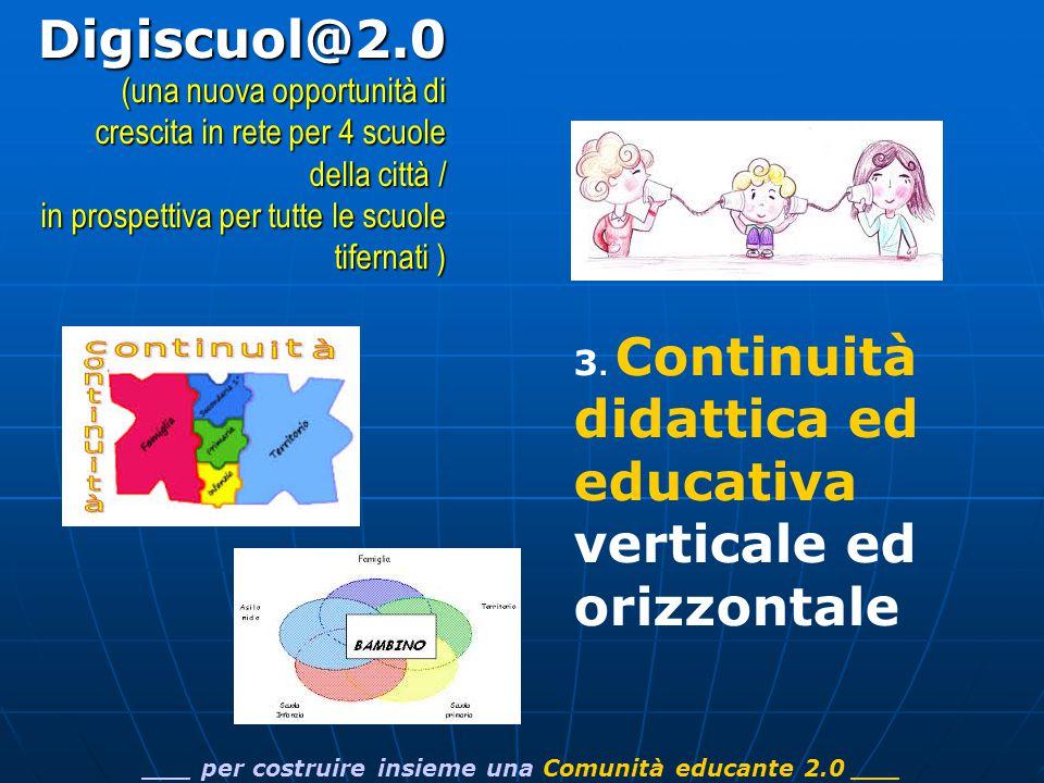 3. Continuità didattica ed educativa verticale ed orizzontale ___ per costruire insieme una Comunità educante 2.0 ___Digiscuol@2.0 (una nuova opportun
