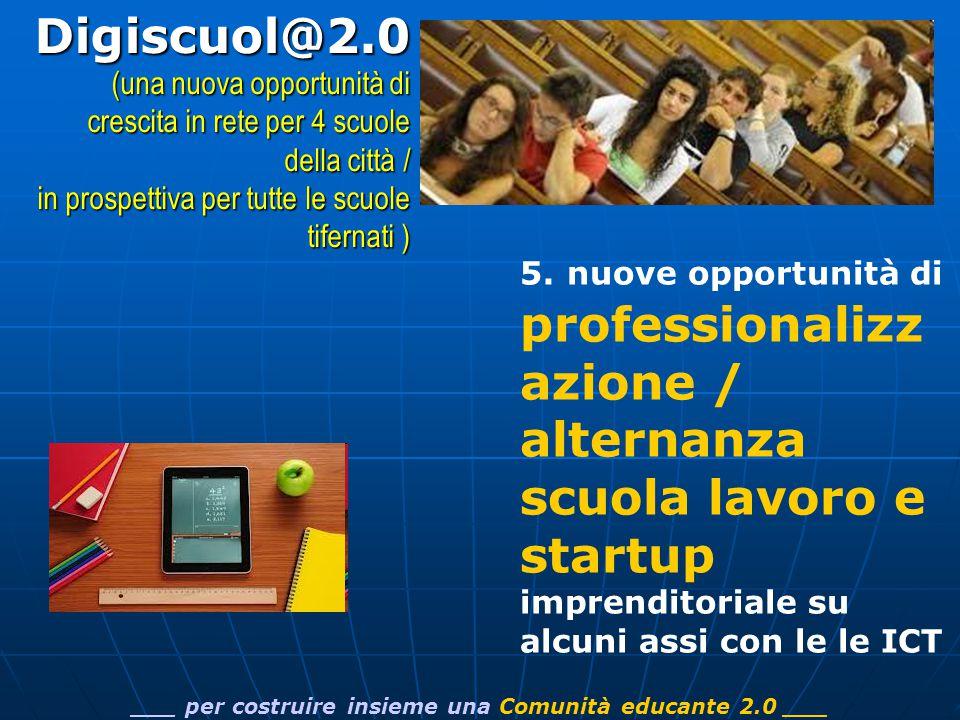 5.nuove opportunità di professionalizz azione / alternanza scuola lavoro e startup imprenditoriale su alcuni assi con le le ICT ___ per costruire insieme una Comunità educante 2.0 ___Digiscuol@2.0 (una nuova opportunità di crescita in rete per 4 scuole della città / in prospettiva per tutte le scuole tifernati )