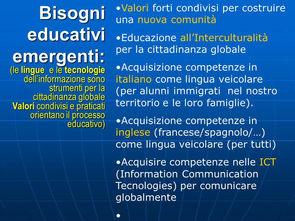 Valori forti condivisi per costruire una nuova comunità Educazione all'Interculturalità per la cittadinanza globale Acquisizione competenze in italiano come lingua veicolare (per alunni immigrati nel nostro territorio e le loro famiglie).