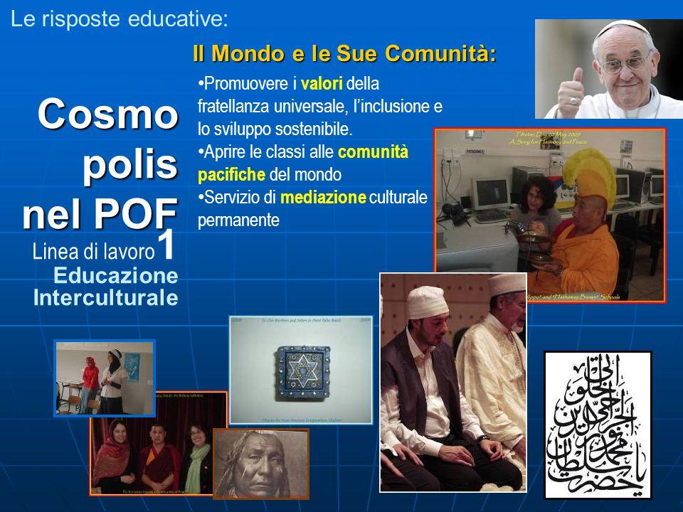 Le risposte educative: Cosmo polis nel POF Linea di lavoro 1 Educazione Interculturale Il Mondo e le Sue Comunità: Promuovere i valori della fratellanza universale, l'inclusione e lo sviluppo sostenibile.