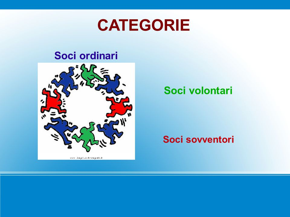 Soci ordinari Soci volontari Soci sovventori CATEGORIE