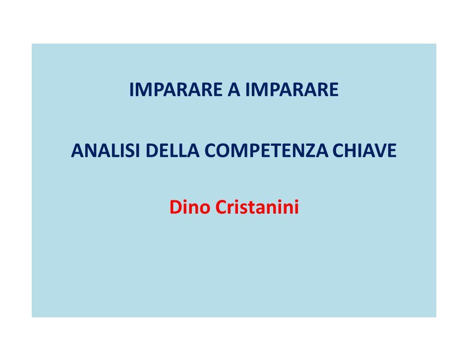 IMPARARE A IMPARARE ANALISI DELLA COMPETENZA CHIAVE Dino Cristanini