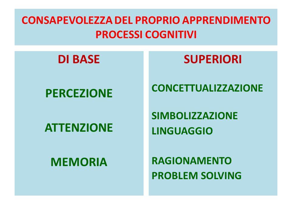 CONSAPEVOLEZZA DEL PROPRIO APPRENDIMENTO PROCESSI COGNITIVI DI BASE PERCEZIONE ATTENZIONE MEMORIA SUPERIORI CONCETTUALIZZAZIONE SIMBOLIZZAZIONE LINGUAGGIO RAGIONAMENTO PROBLEM SOLVING