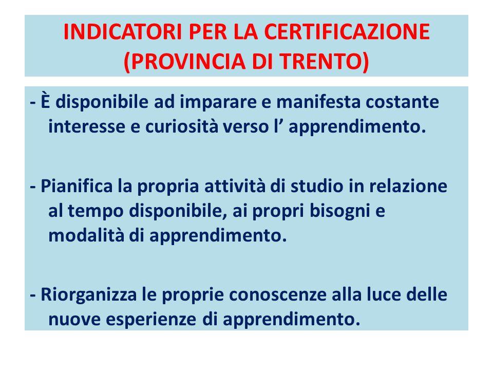 INDICATORI PER LA CERTIFICAZIONE (PROVINCIA DI TRENTO) - È disponibile ad imparare e manifesta costante interesse e curiosità verso l' apprendimento.