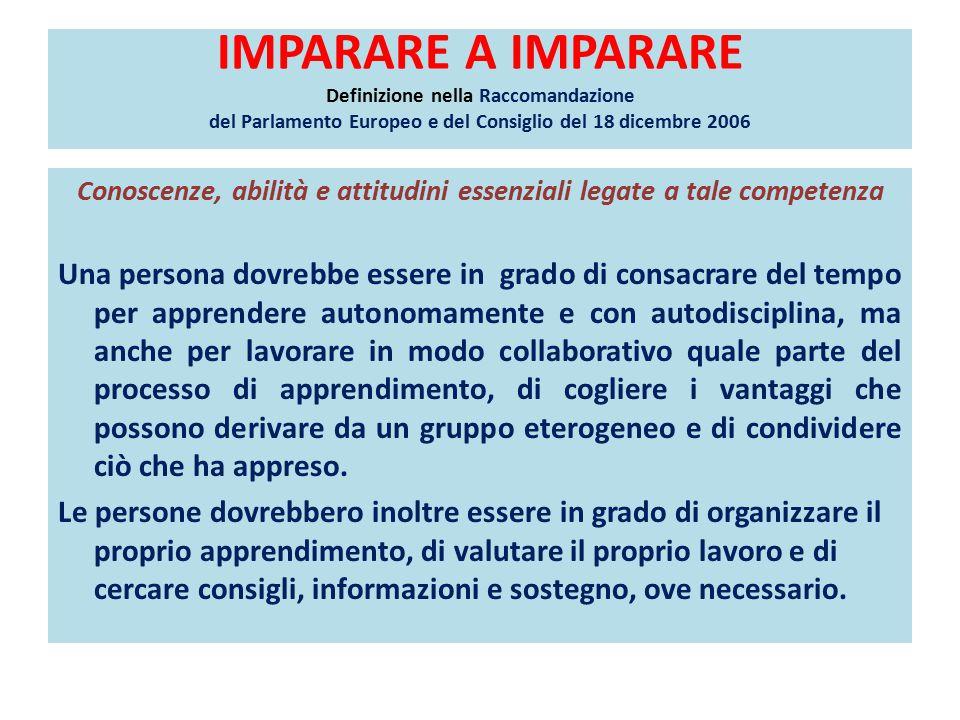 USARE LE CONOSCENZE E LE ABILITÀ IN CONTESTI DIVERSI COMPITI SIGNIFICATIVI - Curricolo proposto dall'USR per il Veneto (http://www.piazzadellecompetenze.net/primoCicloIstruzione/CurricoloPrimoCicloIndicazioni2012.pdf)http://www.piazzadellecompetenze.net/primoCicloIstruzione/CurricoloPrimoCicloIndicazioni2012.pdf Dato un compito da svolgere, reperire tutte le informazioni necessarie provenienti da fonti diverse: confrontarle per stabilirne l'attendibilità; selezionarle a seconda delle priorità e dello scopo; organizzarle in quadri di sintesi coerenti,utilizzando anche schemi, diagrammi, mappe, web quest Dato un compito, un progetto da realizzare, distinguerne le fasi e pianificarle nel tempo, individuando le priorità delle azioni, Le risorse a disposizione, le informazioni disponibili e quelle mancanti Dato un compito, una decisione da assumere, un problema da risolvere, mettere in comune le differenti informazioni in possesso di persone diverse e costruire un quadro di sintesi; verificare la completezza delle informazioni a disposizioni e reperire quelle mancanti o incomplete Dato un tema riferito, ad esempio ad una teoria scientifica, una tecnologia, un fenomeno sociale, reperire tutte le informazioni utili per comprenderlo ed esprimere valutazioni e riflessioni Organizzare le informazioni in schematizzazioni diverse: mappe, scalette, diagrammi efficaci o, viceversa, costruire un testo espositivo a partire da schemi, grafici, tabelle, altre rappresentazioni Partecipare consapevolmente a viaggi di studio o ricerche d'ambiente o sui beni culturali e dare il proprio contributo alla loro progettazione (programma, produzione di schede documentali, di semplicissime guide) Pianificare compiti da svolgere, impegni organizzandoli secondo le priorità e il tempo a disposizione Dato un compito o un problema da risolvere, valutare l'applicabilità di procedure e soluzioni attuate in contesti simili