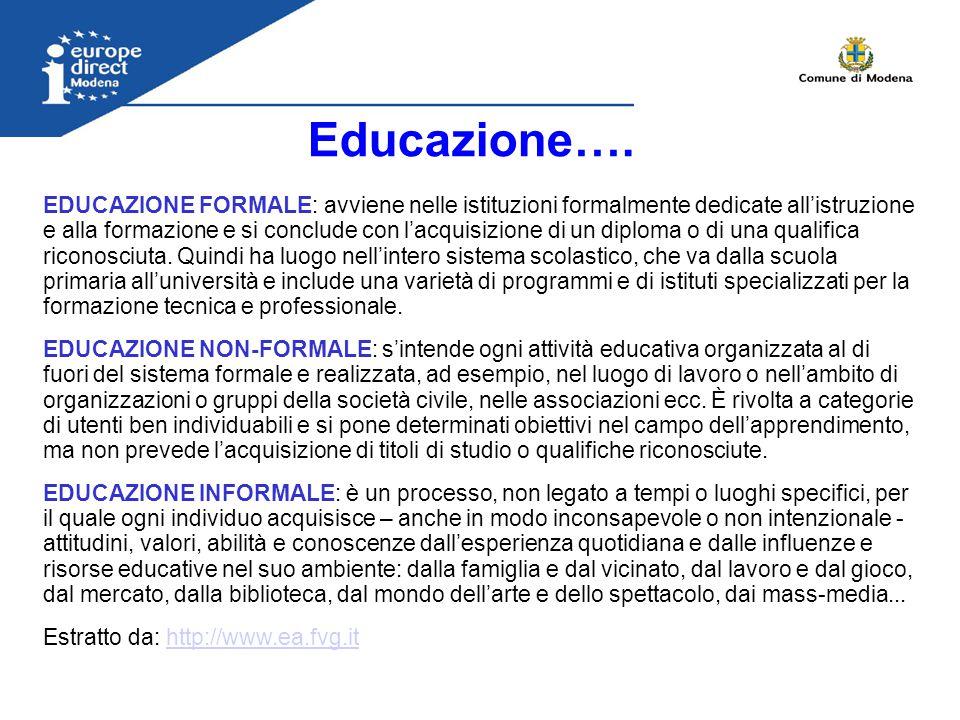 Educazione…. EDUCAZIONE FORMALE: avviene nelle istituzioni formalmente dedicate all'istruzione e alla formazione e si conclude con l'acquisizione di u