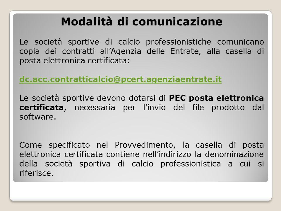 Modalità di comunicazione Le società sportive di calcio professionistiche comunicano copia dei contratti all'Agenzia delle Entrate, alla casella di po