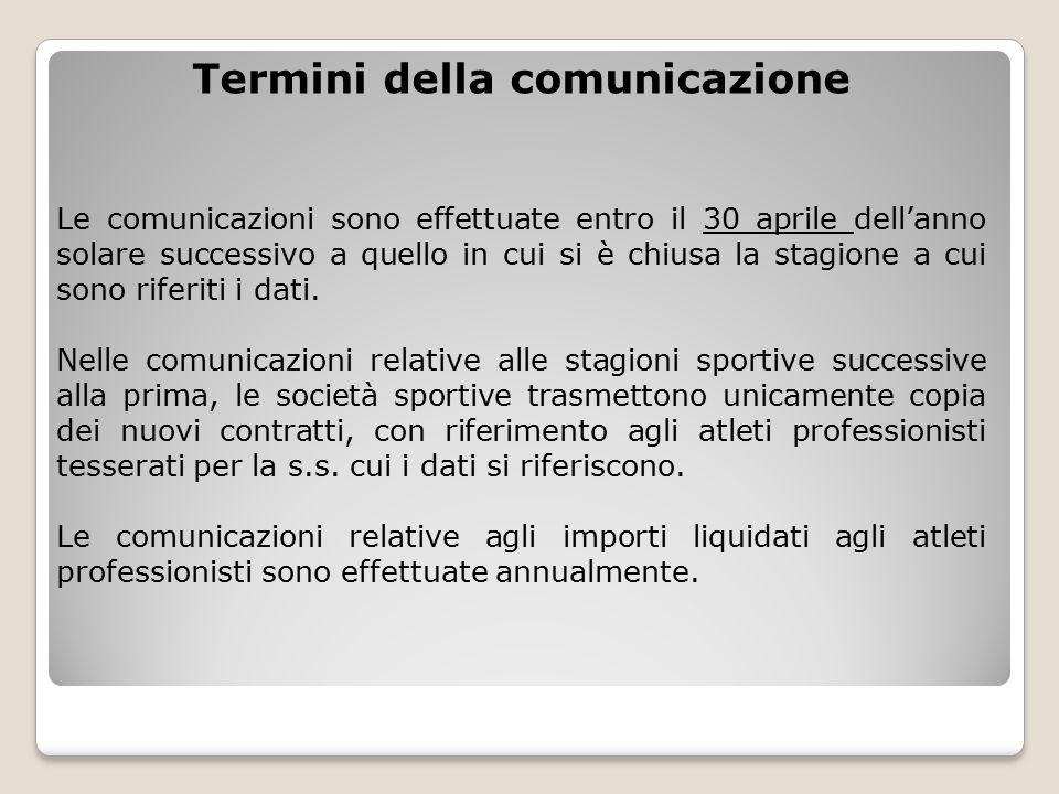 Termini della comunicazione Le comunicazioni sono effettuate entro il 30 aprile dell'anno solare successivo a quello in cui si è chiusa la stagione a