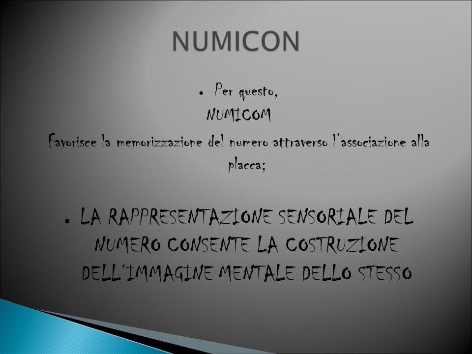 ● Per questo, NUMICOM Favorisce la memorizzazione del numero attraverso l'associazione alla placca; ● LA RAPPRESENTAZIONE SENSORIALE DEL NUMERO CONSEN