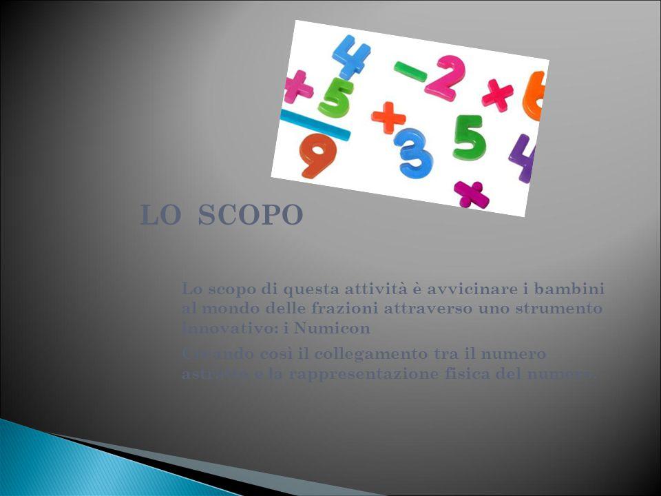 LO SCOPO Lo scopo di questa attività è avvicinare i bambini al mondo delle frazioni attraverso uno strumento innovativo: i Numicon Creando così il col