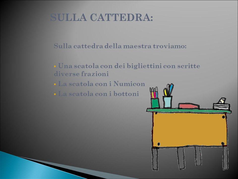 SULLA CATTEDRA: Sulla cattedra della maestra troviamo:  Una scatola con dei bigliettini con scritte diverse frazioni  La scatola con i Numicon  La