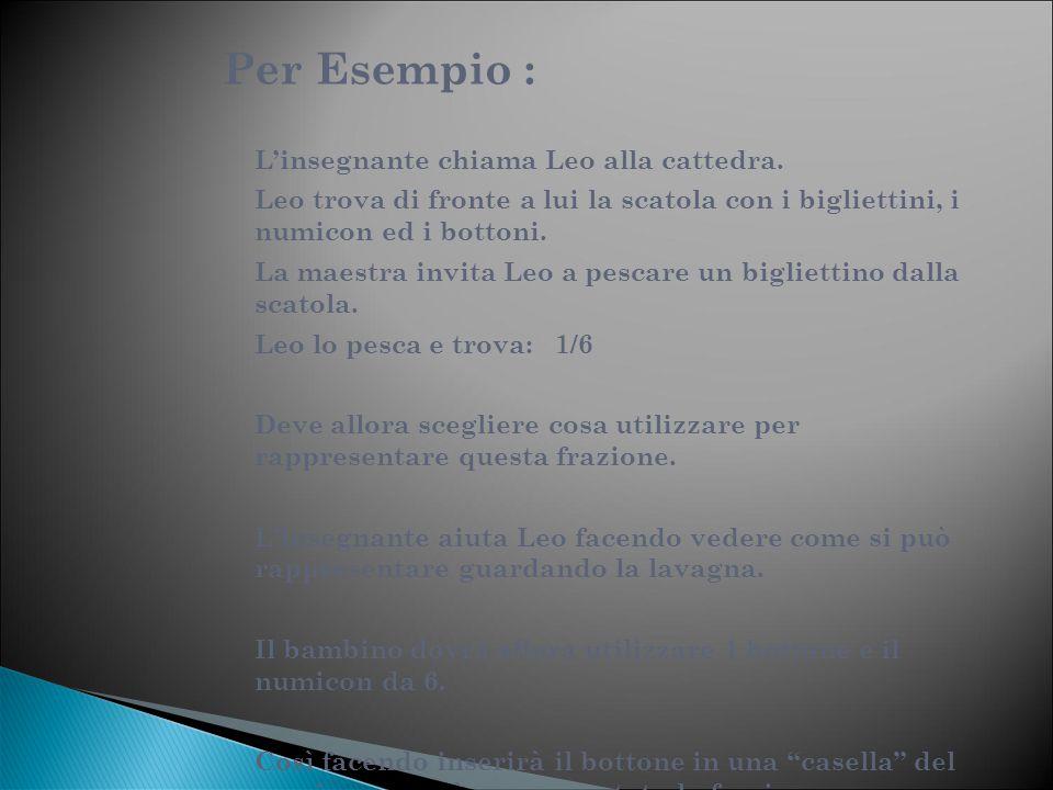 Per Esempio : L'insegnante chiama Leo alla cattedra. Leo trova di fronte a lui la scatola con i bigliettini, i numicon ed i bottoni. La maestra invita